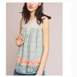 Anthropologie Maeve Tunic TOP WITH LACE DETAIL L